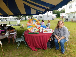 Eric Carle Museum Education Director Courtney Waring ran a literacy roulette, with prizes including drawing utensils, pads and books.